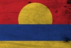 Bandera de las islas periféricas de menor importancia de Estados Unidos en fondo de madera de la placa ilustración del vector