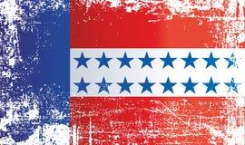 Bandera de las islas de Tuamotu, archipiélago de Tuamotu, Polinesia francesa Puntos sucios arrugados ilustración del vector