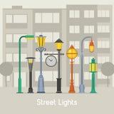 Bandera de las lámparas de calle y de los posts de la lámpara libre illustration