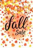 Bandera de las letras de la venta de la caída Cartel estacional del otoño del descuento con tipografía dibujada mano texturizada  Foto de archivo