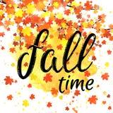 Bandera de las letras del tiempo del otoño Cartel estacional de la caída con tipografía dibujada mano texturizada y hojas colorid Imágenes de archivo libres de regalías