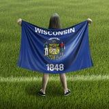 Bandera de las mujeres y de Wisconsin imágenes de archivo libres de regalías