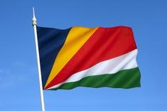 Bandera de las Seychelles - el Océano Índico Foto de archivo libre de regalías