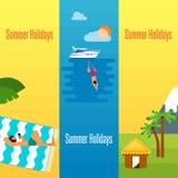 Bandera de las vacaciones de verano con las casas de planta baja tropicales stock de ilustración