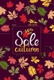 Bandera de las ventas con las hojas de otoño multicoloras Vector Fotografía de archivo libre de regalías