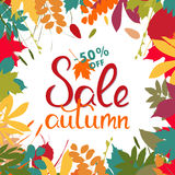 Bandera de las ventas con las hojas de otoño multicoloras Vector Foto de archivo