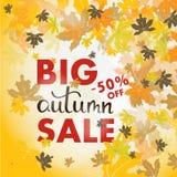 Bandera de las ventas con las hojas de otoño multicoloras Vector Foto de archivo libre de regalías