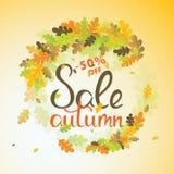 Bandera de las ventas con las hojas de otoño multicoloras Vector Imagenes de archivo