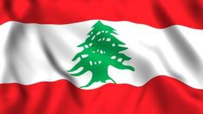 Bandera de Libanon que agita en el viento stock de ilustración