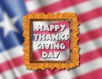 Bandera de Liberia y día feliz de la acción de gracias con las hojas amarillas Fotografía de archivo