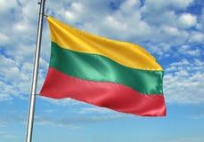 Bandera de Lituania que agita con el cielo en el ejemplo realista 3d del fondo foto de archivo