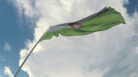 Bandera de Ljubljana que agita en viento contra el fondo del cielo azul, capital de Eslovenia metrajes