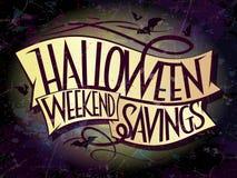 Bandera de los ahorros del fin de semana de Halloween con las cintas Imagen de archivo libre de regalías
