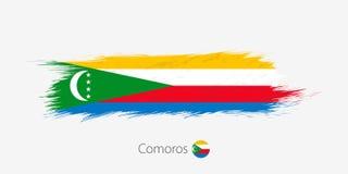 Bandera de los Comoro, movimiento abstracto del cepillo del grunge en fondo gris libre illustration