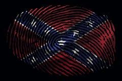 Bandera de los confederados bajo la forma de huella dactilar en un fondo negro libre illustration