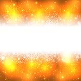 Bandera de los copos de nieve en fondo de oro ilustración del vector