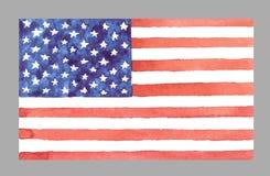 Bandera de los E.E.U.U. de la acuarela Ilustración del vector Foto de archivo