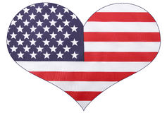 Bandera de los E.E.U.U. de la forma del corazón Fotos de archivo libres de regalías