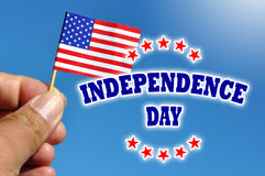 Bandera de los E.E.U.U. del Día de la Independencia con la bandera americana Foto de archivo libre de regalías