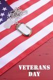 Bandera de los E.E.U.U. del día de veteranos con las placas de identificación Imagenes de archivo