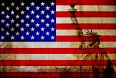 Bandera de los E.E.U.U. del vintage con la estatua de la libertad fotografía de archivo libre de regalías