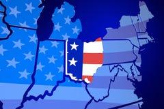 Bandera de los E.E.U.U. Estados Unidos América del mapa del estado de Ohio Imagen de archivo libre de regalías