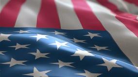 Bandera de los E.E.U.U. que agitan lentamente en el viento textura detallada de la tela metrajes
