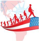 Bandera de los E.E.U.U. con la gente de la inmigración en mapa americano stock de ilustración