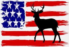 Bandera de los E.E.U.U. con la silueta de los ciervos Imagen de archivo libre de regalías