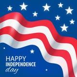 Bandera de los E.E.U.U. del Día de la Independencia de la impresión Foto de archivo libre de regalías