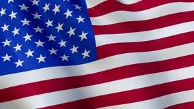 Bandera de los E.E.U.U. que agita en el viento - animado almacen de metraje de vídeo