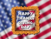 Bandera de los E.E.U.U. y día feliz de la acción de gracias con las hojas amarillas Fotos de archivo