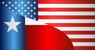 Bandera de los E.E.U.U. y del estado de Tejas imagenes de archivo
