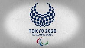 Bandera de los juegos paralympic de Tokio 2020 ilustración del vector