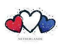 Bandera de los Países Bajos bajo la forma de tres corazones Ilustraci?n del vector stock de ilustración