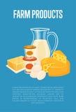 Bandera de los productos agrícolas con la composición de la lechería libre illustration