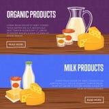 Bandera de los productos agrícolas con la composición de la lechería ilustración del vector