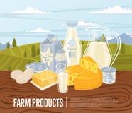 Bandera de los productos agrícolas con la composición de la lechería stock de ilustración