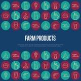 Bandera de los productos agrícolas con los iconos de la lechería libre illustration