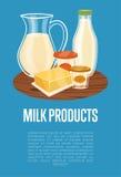 Bandera de los productos lácteos con la composición de la lechería libre illustration