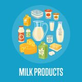 Bandera de los productos lácteos con la composición de la lechería ilustración del vector