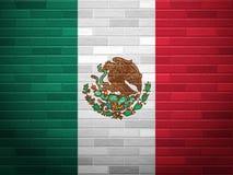 Bandera de México de la pared de ladrillo Fotografía de archivo libre de regalías