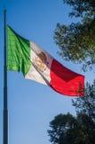 Bandera de México que agita en una asta de bandera Imágenes de archivo libres de regalías