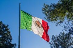 Bandera de México que agita en una asta de bandera Imagen de archivo libre de regalías