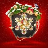 Bandera de madera con las ramas del Piel-árbol de la Navidad Foto de archivo libre de regalías