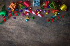 Bandera de madera del fondo de la Navidad y del Año Nuevo Foto de archivo