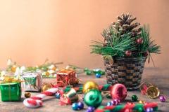 Bandera de madera del fondo de la Navidad y del Año Nuevo Fotos de archivo libres de regalías