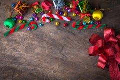 Bandera de madera del fondo de la Navidad y del Año Nuevo Imagen de archivo