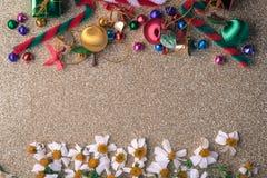 Bandera de madera del fondo de la Navidad y del Año Nuevo Foto de archivo libre de regalías