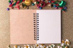 Bandera de madera del fondo de la Navidad y del Año Nuevo Fotos de archivo